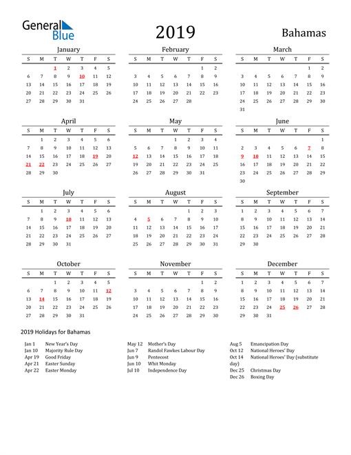 Image of 2019 Printable Calendar Classic for Bahamas with Holidays