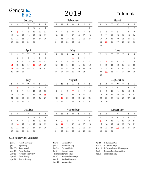 Image of 2019 Printable Calendar Classic for Colombia with Holidays