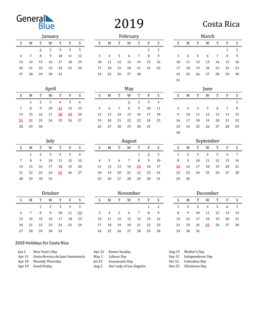 Image of 2019 Printable Calendar Classic for Costa Rica with Holidays