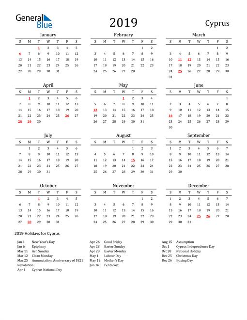 Cyprus Holidays Calendar for 2019