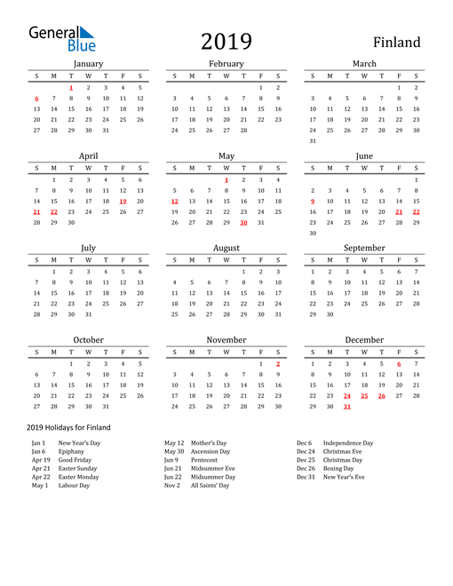 Image of 2019 Printable Calendar Classic for Finland with Holidays