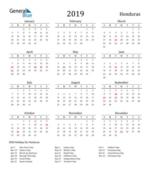 Image of 2019 Printable Calendar Classic for Honduras with Holidays