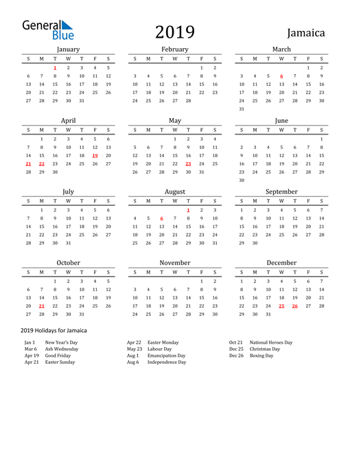 Image of 2019 Printable Calendar Classic for Jamaica with Holidays