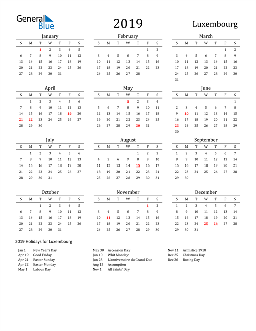 Image of 2019 Printable Calendar Classic for Luxembourg with Holidays