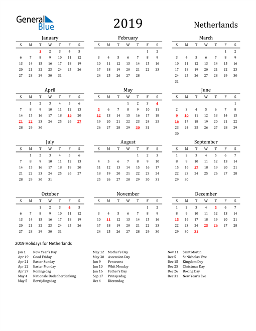 Image of 2019 Printable Calendar Classic for Netherlands with Holidays