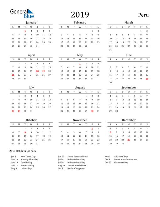 Image of 2019 Printable Calendar Classic for Peru with Holidays