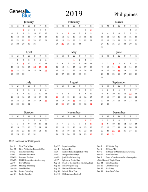 Image of 2019 Printable Calendar Classic for Philippines with Holidays