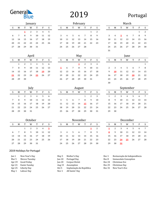 Image of 2019 Printable Calendar Classic for Portugal with Holidays