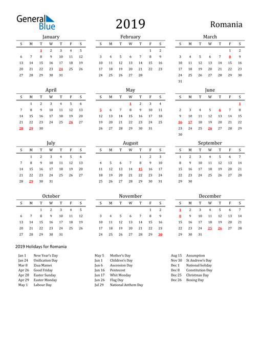 Image of 2019 Printable Calendar Classic for Romania with Holidays