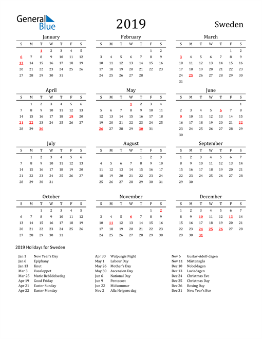 Image of 2019 Printable Calendar Classic for Sweden with Holidays