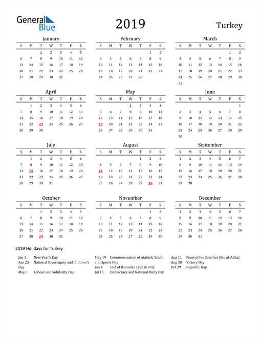 Image of 2019 Printable Calendar Classic for Turkey with Holidays