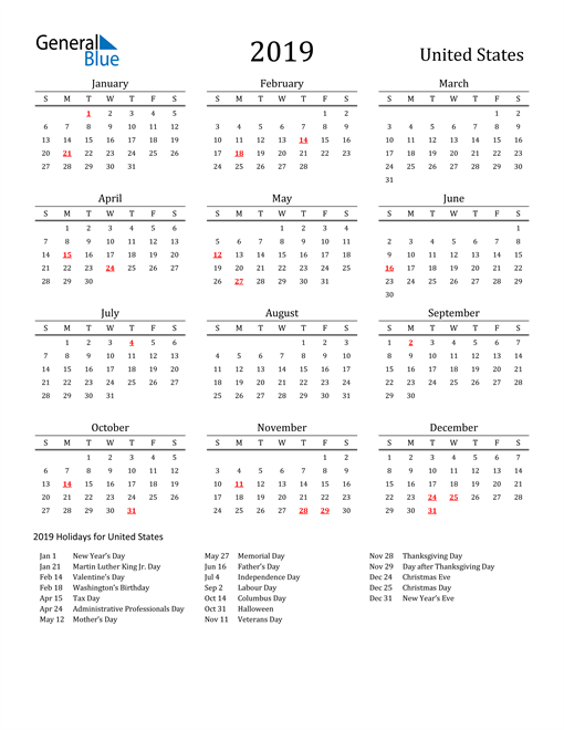 Image of 2019 Printable Calendar Classic for United States with Holidays