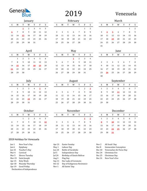 Image of 2019 Printable Calendar Classic for Venezuela with Holidays