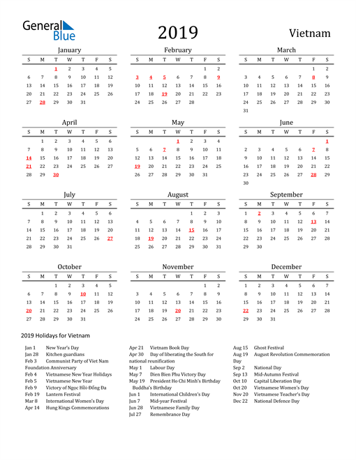 Image of 2019 Printable Calendar Classic for Vietnam with Holidays