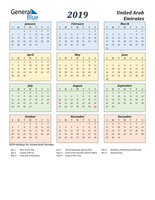 Image of United Arab Emirates 2019 Calendar with Color with Holidays