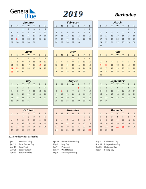 Image of Barbados 2019 Calendar with Color with Holidays
