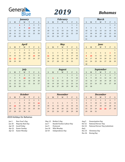 Image of Bahamas 2019 Calendar with Color with Holidays