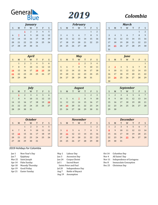 Image of Colombia 2019 Calendar with Color with Holidays