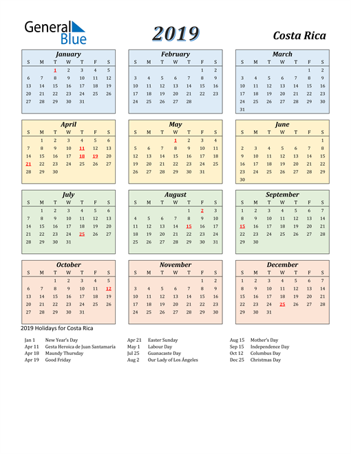 Image of Costa Rica 2019 Calendar with Color with Holidays