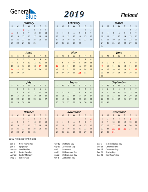 Image of Finland 2019 Calendar with Color with Holidays