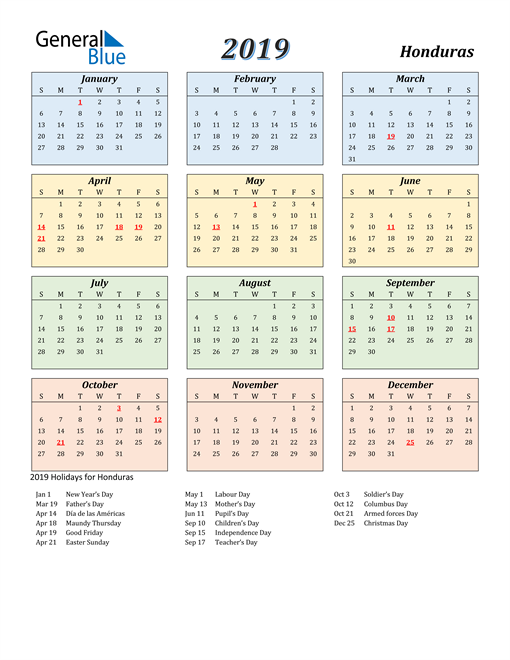 Image of Honduras 2019 Calendar with Color with Holidays