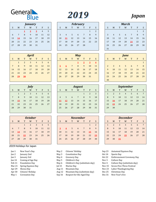 Image of Japan 2019 Calendar with Color with Holidays