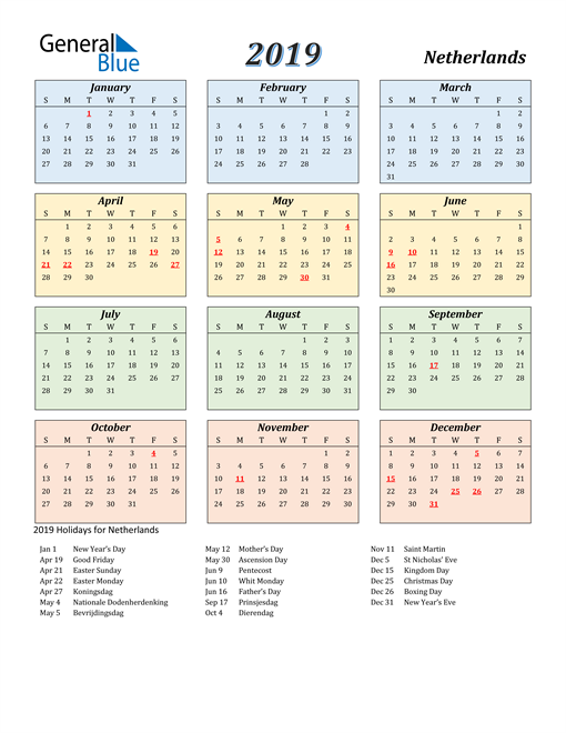 Image of Netherlands 2019 Calendar with Color with Holidays