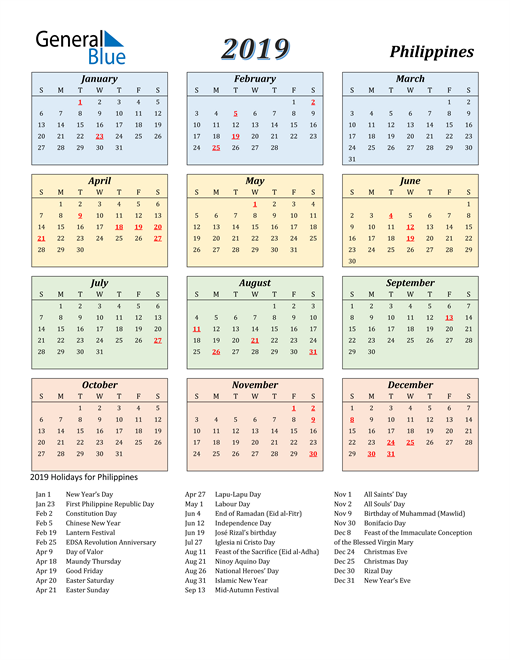 Image of Philippines 2019 Calendar with Color with Holidays