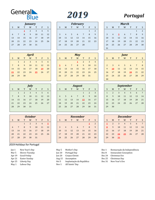 Image of Portugal 2019 Calendar with Color with Holidays