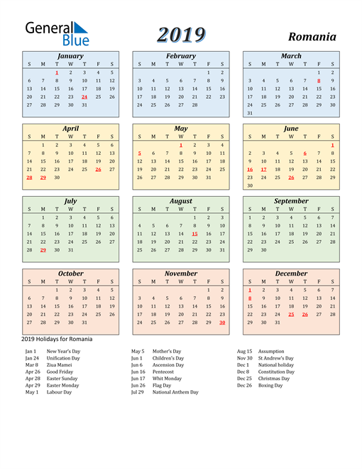 Image of Romania 2019 Calendar with Color with Holidays