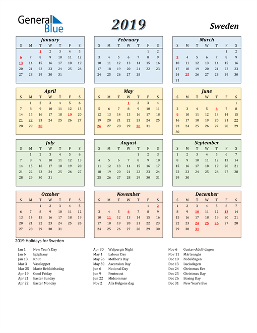 Image of Sweden 2019 Calendar with Color with Holidays