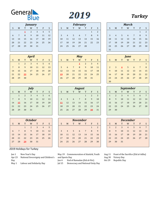 Image of Turkey 2019 Calendar with Color with Holidays