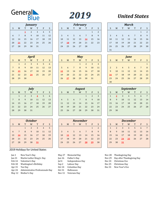 Image of United States 2019 Calendar with Color with Holidays