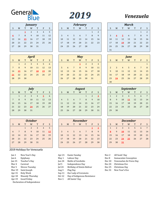 Image of Venezuela 2019 Calendar with Color with Holidays