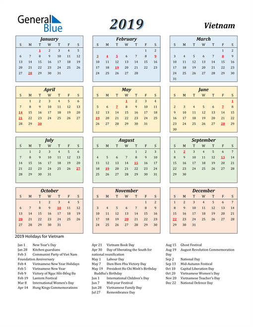 Image of Vietnam 2019 Calendar with Color with Holidays