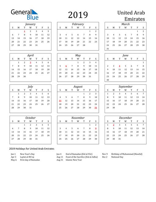 Image of United Arab Emirates 2019 Calendar Streamlined Version with Holidays