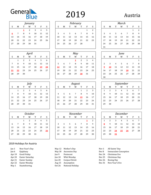 Image of Austria 2019 Calendar Streamlined Version with Holidays