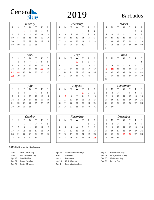 Image of Barbados 2019 Calendar Streamlined Version with Holidays
