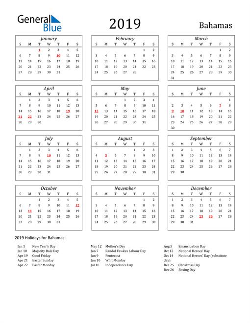 Image of Bahamas 2019 Calendar Streamlined Version with Holidays