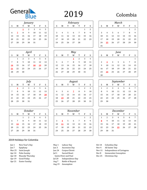 Image of Colombia 2019 Calendar Streamlined Version with Holidays