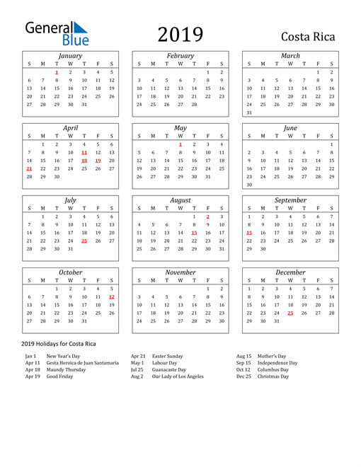 Image of Costa Rica 2019 Calendar Streamlined Version with Holidays
