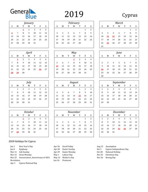 2019 Cyprus Holiday Calendar