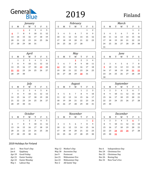 Image of Finland 2019 Calendar Streamlined Version with Holidays