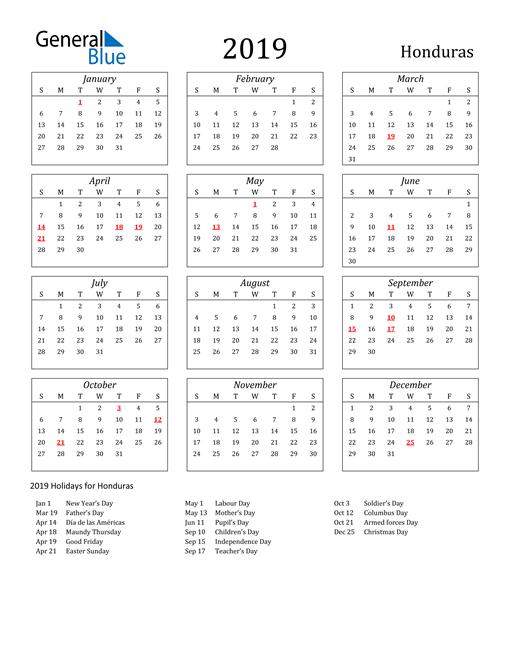 Image of Honduras 2019 Calendar Streamlined Version with Holidays