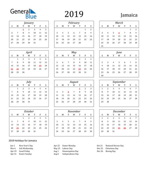 Image of Jamaica 2019 Calendar Streamlined Version with Holidays
