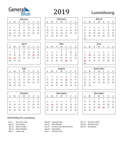 Image of Luxembourg 2019 Calendar Streamlined Version with Holidays