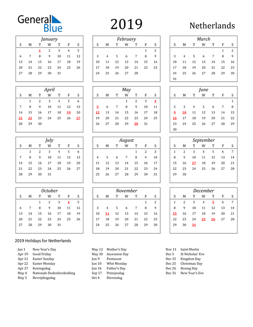 Image of Netherlands 2019 Calendar Streamlined Version with Holidays