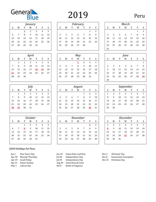 Image of Peru 2019 Calendar Streamlined Version with Holidays
