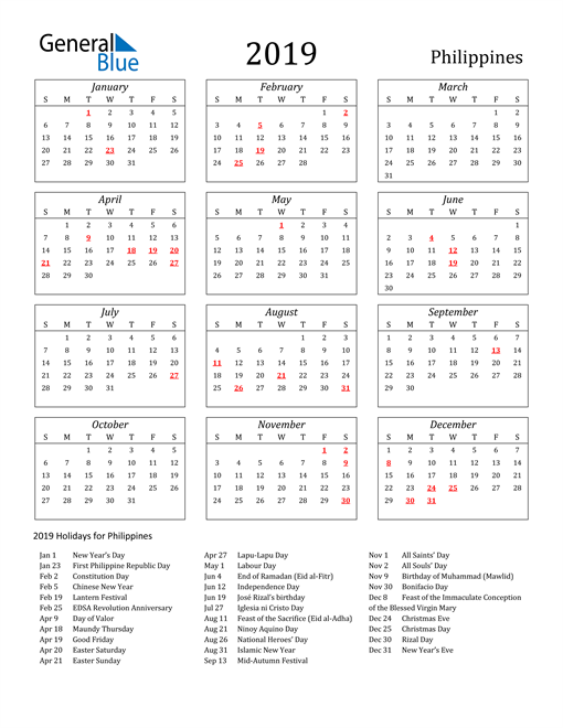 Image of Philippines 2019 Calendar Streamlined Version with Holidays