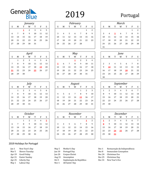 Image of Portugal 2019 Calendar Streamlined Version with Holidays